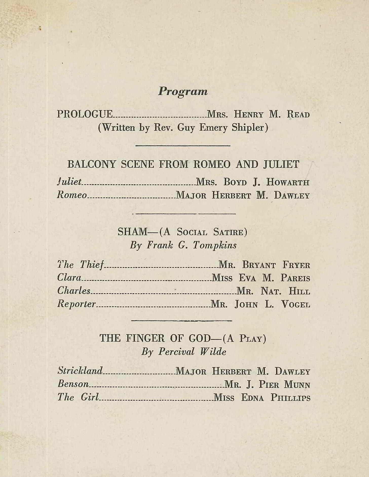 Three One Act Plays (1922)