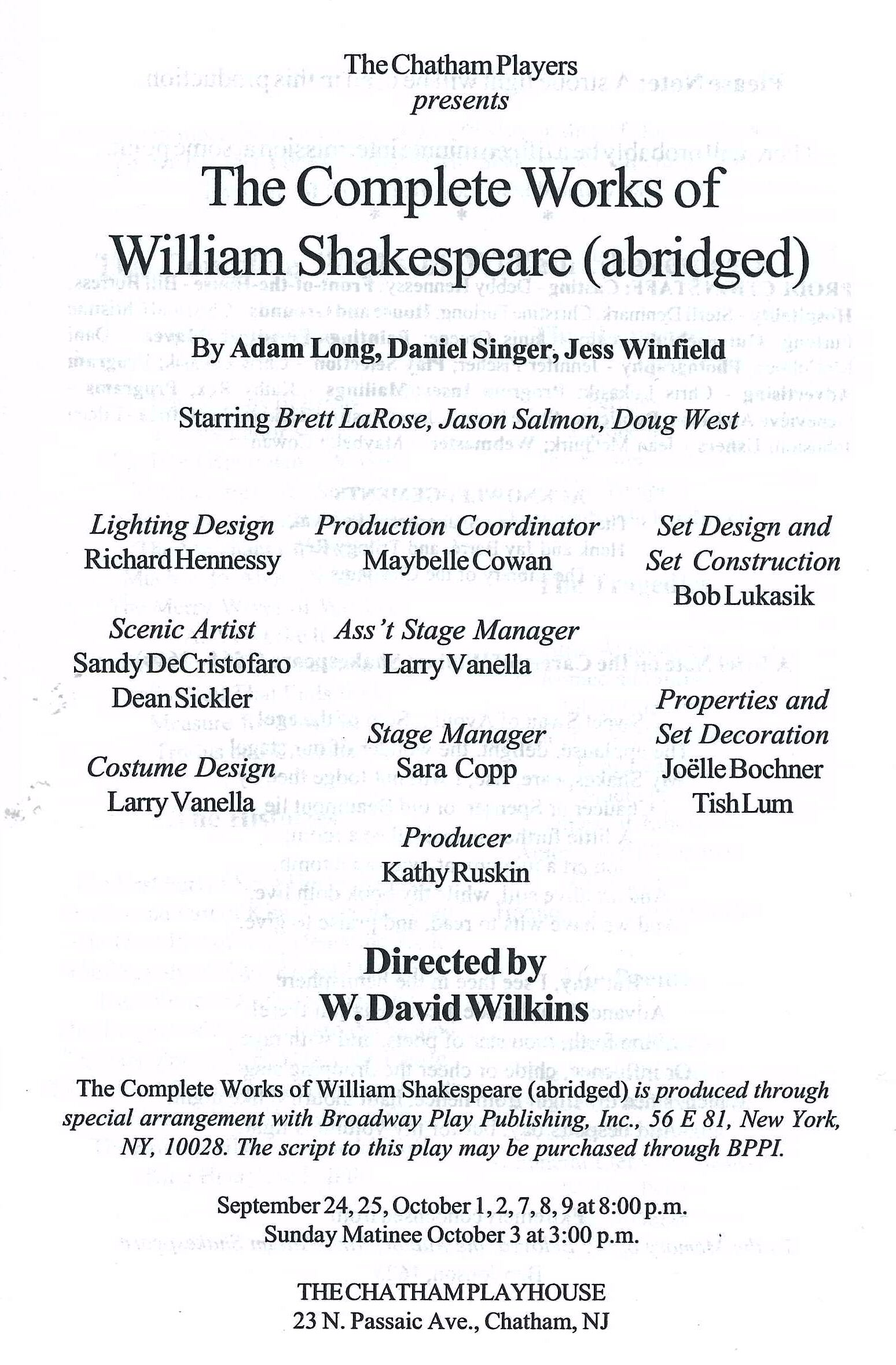 The Compleat Works of William Shakepeare Abridged (1999)