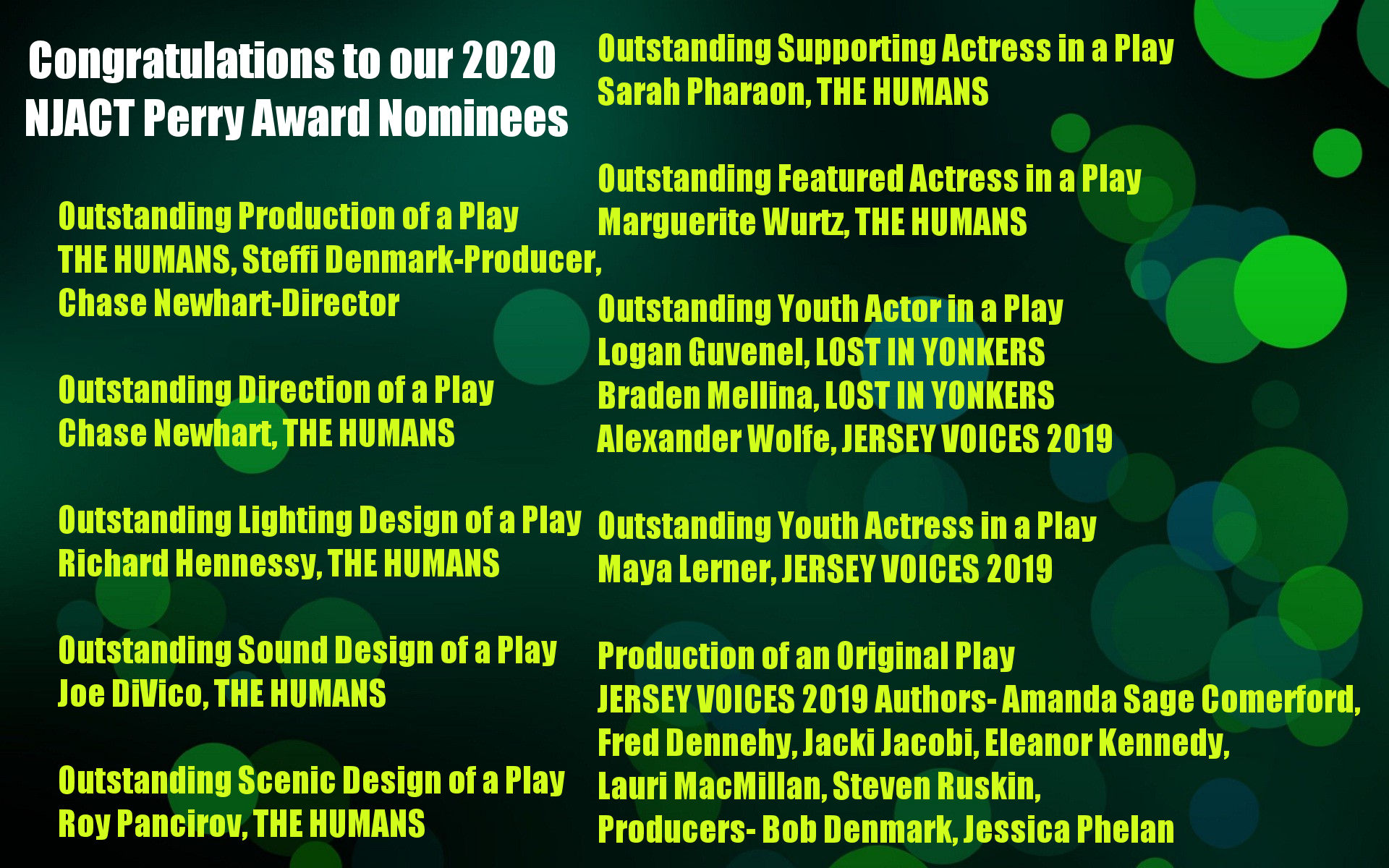 2020 NJACT Perry Award Nominations