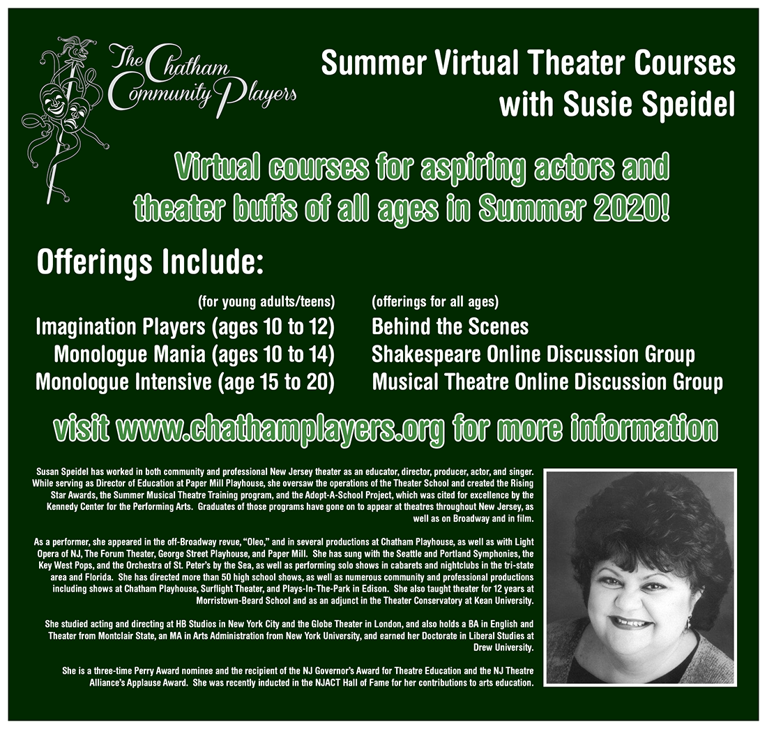 Virtual Summer Theater Courses with Susie Speidel